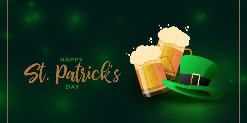 beer mug and leprechaun hat for st patricks day event